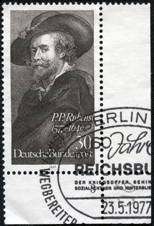 GERMANY - CIRCA 1977: A stamp printed in German Federal Republic shows Peter Paul Rubens, Flemish painter, Self-portraiti (1577-1640), circa 1977