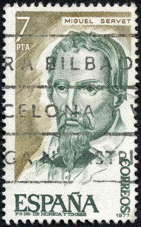 theologian: SPAIN - CIRCA 1977: A stamp printed in Spain, shows a portrait of Miguel Servet medical, philosopher and theologian, circa 1977.