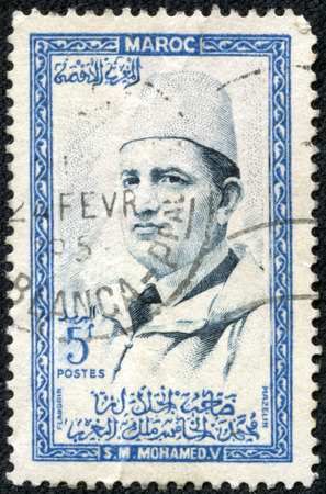mohammed: MOROCCO - CIRCA 1957: A stamp printed in Morocco shows Sultan Mohammed V, circa 1957