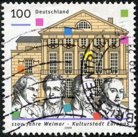 herder: GERMANY- CIRCA 1999: A stamp printed by Germany honoring 1100th Anniversary of Weimar, European City of Culture, shows National Theatre, Schiller, Goethe, Wieland and Herder, circa 1999 Editorial