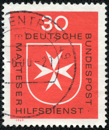 GERMANY - CIRCA 1969  A stamp printed in Germany, shows Maltese cross, circa 1969