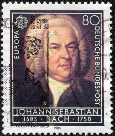notability: GERMANY - CIRCA 1985  A stamp printed in Germany from the  Europa  Composers  300th Birth Anniversaries  issue shows Johann Sebastian Bach, circa 1985  Stock Photo