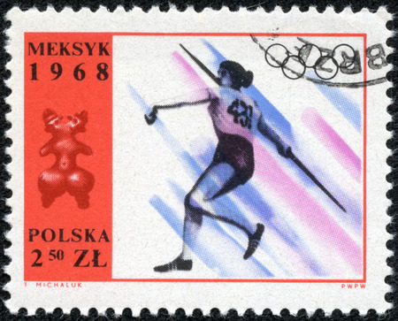 POLAND - CIRCA 1968  A post stamp printed in Poland shows javelin throwing, devoted to Olympic games in Mexico, series, circa 1968