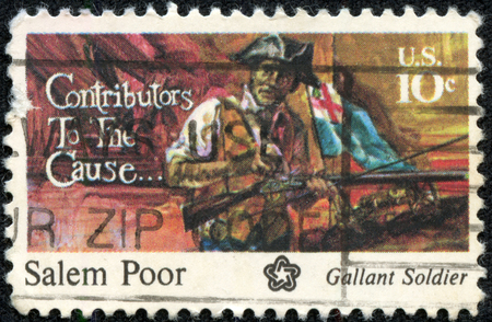 contributors: USA - CIRCA 1975: A postage stamp printed in the USA, dedicated to the American Bicentennial Contributors to the Cause, shows Salem Poor, circa 1975 Editorial