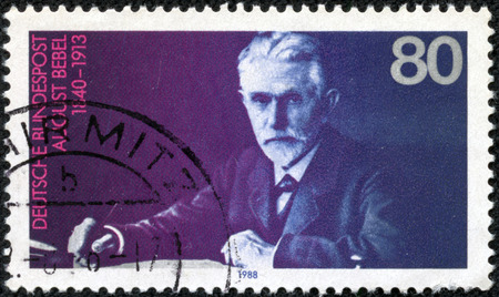 GERMANY - CIRCA 1988: A stamp printed in German Federal Republic shows August Bebel (1840-1913), Founder of the Social Democratic Party, circa 1988 Editorial