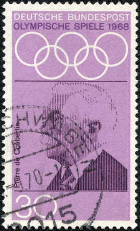 coubertin: GERMANY - CIRCA 1968: A stamp printed in Germany from the \\\Olympic Games (1972) Promotion Fund (1st series)\\\ issue shows Pierre de Coubertin (founder of Olympics), circa 1968. Editorial
