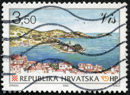 a stamp from Croatia shows image of a coastal landscape, circa 2000