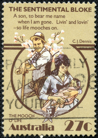 bloke: AUSTRALIA - CIRCA 1983:A Cancelled postage stamp from Australia illustrating Australian Folklore - The Sentimental Bloke, issued in 1983. Editorial