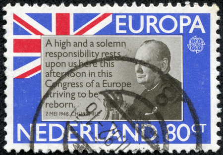 minister of war: HOLLAND - CIRCA 1980: A stamp printed in Netherlands shows Sir Winston Churchill, circa 1980 Editorial