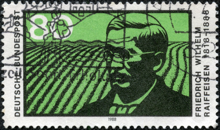 cooperative: GERMANY - CIRCA 1988: a stamp printed in the Germany shows Friedrich Wilhelm Raiffeisen, German Major and Cooperative Pioneer, circa 1988