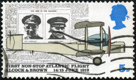 vickers: UNITED KINGDOM - CIRCA 1969: A stamp printed in United Kingdom shows Alcock, Brown, Daily Mail and Vickers Vimy Plane, circa 1969