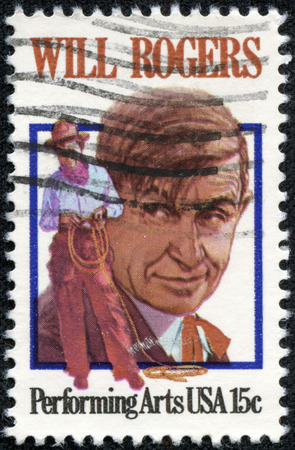 william penn: USA - CIRCA 1979: A stamp printed by USA shows image portrait of William Penn Adair \Will\ Rogers, circa 1979