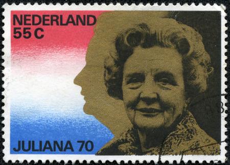 juliana: NETHERLANDS - CIRCA 1979: A stamp printed in Netherlands shows portrait of Queen Juliana (1909-2004), circa 1979