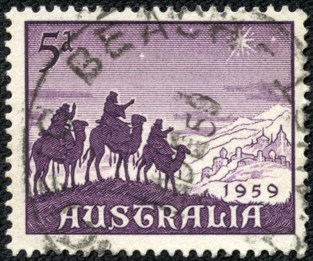 AUSTRALIA - CIRCA 1959: a stamp printed in the Australia shows Approach of the Magi, Christmas, circa 1959 photo
