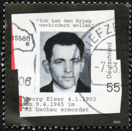 GERMANY - CIRCA 2003: A stamp printed in Germany shows photograph of Georg Elser, who tried to assassinate Adolf Hitler, circa 2003