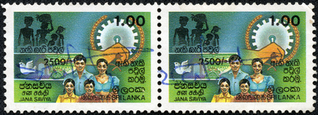 ceylon: CEYLON - CIRCA 1990: stamp printed in the Ceylon shows image of a family members, circa 1948
