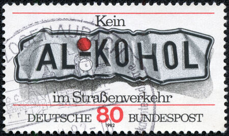 federal republic of germany: FEDERAL REPUBLIC OF GERMANY - CIRCA 1982: A stamp printed in the Federal Republic of Germany shows kein ALKOHOL im Stra????enverkehr , circa 1982
