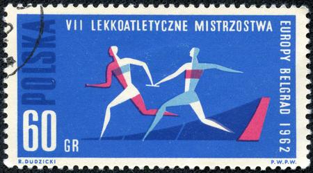 POLAND - CIRCA 1962: A stamp printed in Poland shows runners VII lekkoatletyczne mistrzostwa, circa 1962 Stock Photo