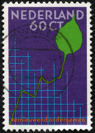 congress: NETHERLANDS - CIRCA 1984: a stamp printed in the Netherlands shows Graph and Leaf, International Small Business Congress, Amsterdam, circa 1984