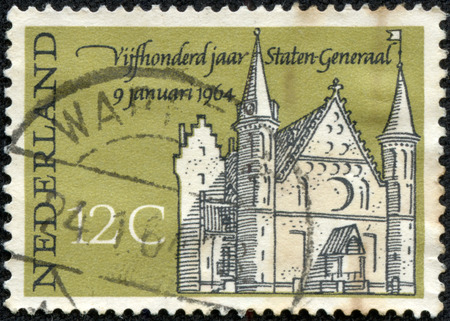 nederlan: NETHERLANDS - CIRCA 1964: A stamp printed in Netherlands honoring 500th Anniv of 1st States-General Meeting, shows Knights