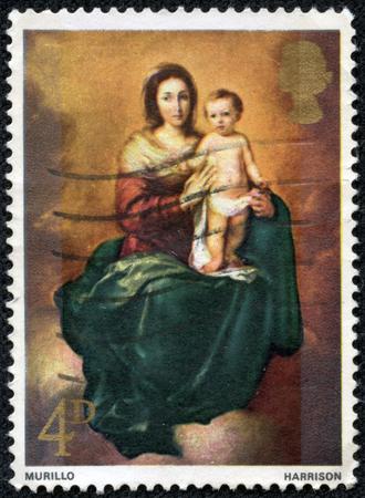 murillo: GREAT BRITAIN - CIRCA 1968: A stamp printed in the Great Britain shows Madonna and Child, by Bartolome Esteban Murillo, circa 1968