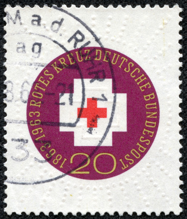 GERMANY - CIRCA 1963: A stamp printed in the Germany shows Red Cross, centenary of the founding International Red Cross, circa 1963