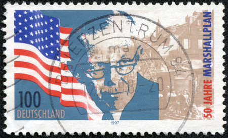 mailmen: GERMANY - CIRCA 1997: A stamp printed in the Germany, dedicated to 50th anniversary of the Marshall Plan, circa 1997 Editorial
