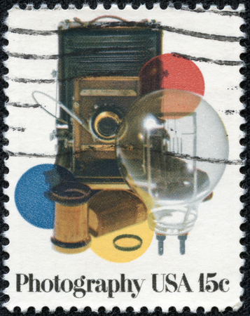 USA - CIRCA 1978: A stamp printed in United States of America shows vinatge photocamera and acsessores, circa 1978 photo