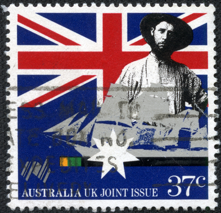 franked: AUSTRALIA - CIRCA 1988:A Cancelled postage stamp from Australia illustrating a joint issue with the UK, issued in 1988. Editorial