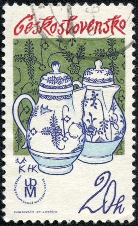 coffeepots: CZECHOSLOVAKIA - CIRCA 1977: A stamp printed in CZECHOSLOVAKIA shows jug with cobalt decoration The Bird and the rock, circa 1977 Editorial