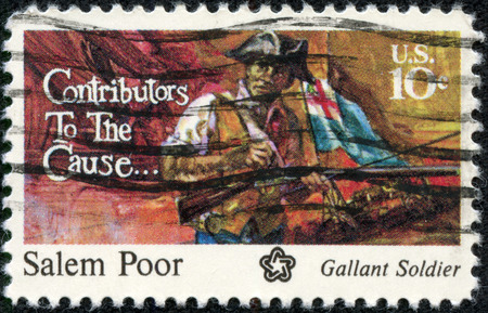 contributors: USA - CIRCA 1975: A postage stamp printed in the USA, dedicated to the American Bicentennial Contributors to the Cause, shows Salem Poor, circa 1975 Stock Photo