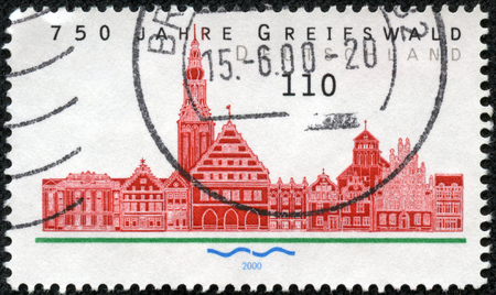 federal republic of germany: FEDERAL REPUBLIC OF GERMANY - CIRCA 2000: A stamp printed in the Federal Republic of Germany shows 750 Jahre Greifswald, circa 2000
