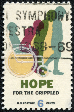 USA - CIRCA 1969: A stamp printed in USA shows Cured Child, Hope for Crippled Issue, Issued to encourage the rehabilitation of crippled children and adults, circa 1969 photo