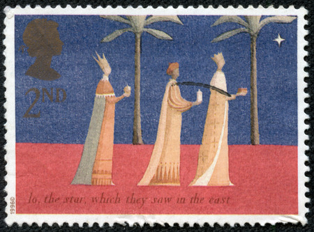 GREAT BRITAIN - CIRCA 1996: a stamp printed in the Great Britain shows Three Kings and Christmas Star, Christmas, circa 1996 photo
