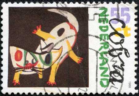 philatelic: NETHERLANDS - CIRCA 1988: Modern art. Paintings by artists belonging to Cobra. Cobra cat. Each stamp printed se-tenant with label picturing the featured artist Stock Photo
