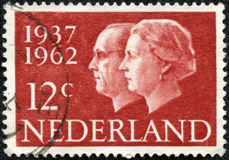 NETHERLANDS - CIRCA 1962: A stamp printed in the Netherlands, is dedicated to the 25th anniversary of the wedding, Queen Juliana and Prince Bernhard, circa 1962