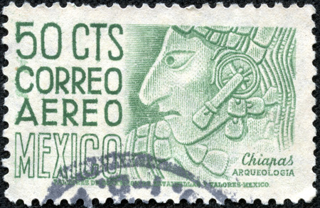 MEXICO - CIRCA 1960: A stamp printed in Mexico shows image of an archaeological find in Chiapas, Mexico, series, circa 1960 Stock Photo