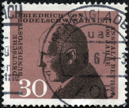 theologian: GERMANY - CIRCA 1967: a stamp printed in Germany shows Friedrich von Bodelschwingh, Manager of Bethel Institution for the Incurable, circa 1967