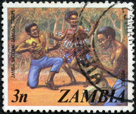 ZAMBIA - CIRCA 1980s: A stamp printed in the Zambia shows dancers of the national dance troupeA stamp , circa 1980s.