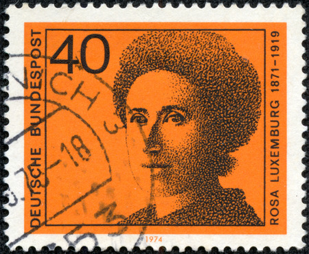 GERMANY - CIRCA 1974: A stamp printed in Germany shows Rosa Luxemburg (1871-1919), series Honoring German women writers and leaders in political and women