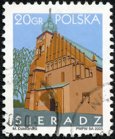 solemnity: POLAND - CIRCA 2005: A stamp printed in Poland shows Sieradz temple Solemnity of All Saints, circa 2005