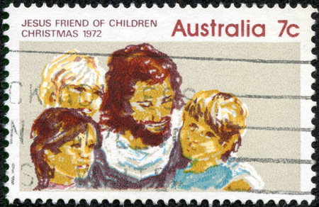 AUSTRALIA - CIRCA 1972: A Stamp printed in AUSTRALIA shows the Jesus and Children, Christmas issue, circa 1972