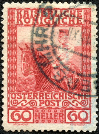 ca he: AUSTRIA - CA. 1908: Austrian postage stamp showing emperor Franz Josef on horseback. He ruled over the empire between 1848-1916