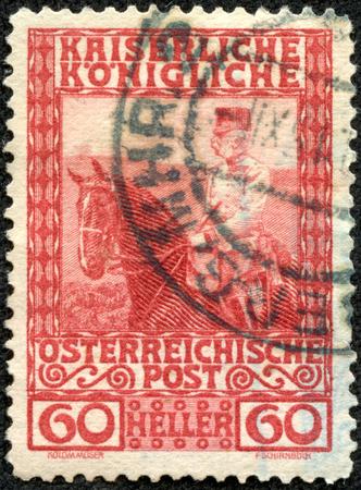 franz josef: AUSTRIA - CA. 1908: Austrian postage stamp showing emperor Franz Josef on horseback. He ruled over the empire between 1848-1916