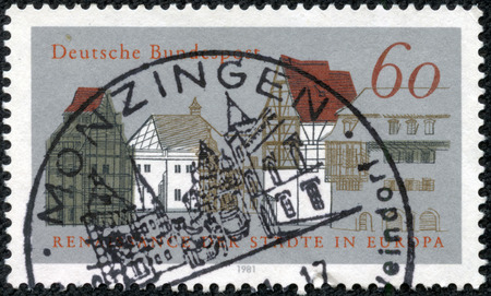 heritage protection: GERMANY - CIRCA 1981: A stamp printed in the Germany, deals with the European Campaign for Heritage Protection European Urban Renaissance, shows a city view, circa 1981