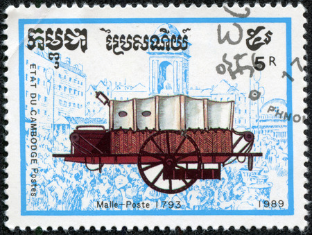 CAMBODIA - CIRCA 1989: A stamp printed in Cambodia from the Coaches issue shows Mail coach, 1793, circa 1989. photo
