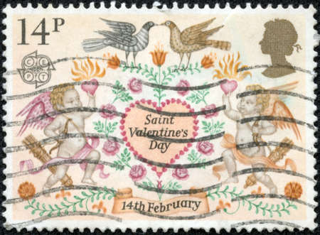 UNITED KINGDOM - CIRCA 1981: A stamp printed in United Kingdom shows image of Saint Valentines Day, Folklore, 14th February, circa 1995 photo