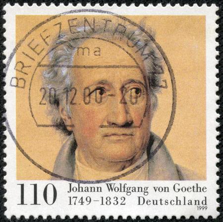 mailmen: GERMANY- CIRCA 1999: A stamp printed in Germany shows Johann Wolfgang von Goethe (1749-1832), Poet, circa 1999