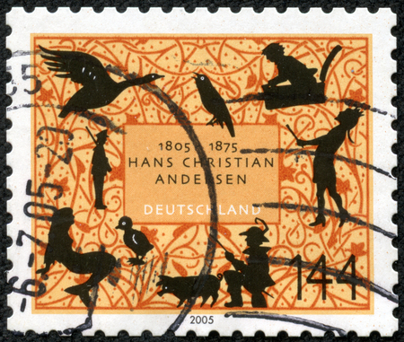 ugly duckling: GERMANY - CIRCA 2005: A stamp printed in Germany dedicated to Hans Christian Andersen, circa 2005 Stock Photo