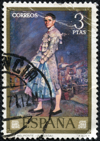belmonte: SPAIN - CIRCA 1971: A stamp printed in the Spain shows Portrait of Juan Belmonte, painting by Ignacio Zuloaga, circa 1971 Editorial